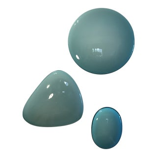 Abstract Hand Blown Power Blue Glass Stone Wall Art - 3 Pieces For Sale