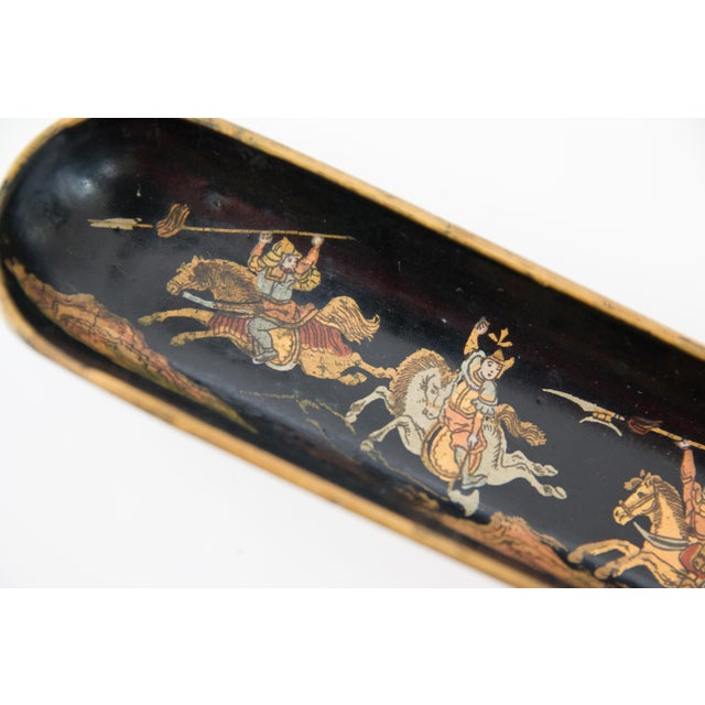 Asian Antique Chinoiserie Papier Mache Pen Tray For Sale - Image 3 of 7