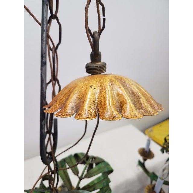 Vintage Pair of Hanging Colorful Leaf/Frond Lights - Flush Mount Ceiling For Sale - Image 9 of 13