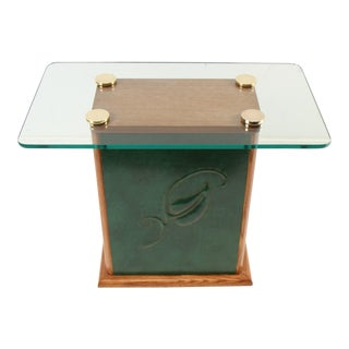 Early James Mont Embossed Leather Side Table For Sale
