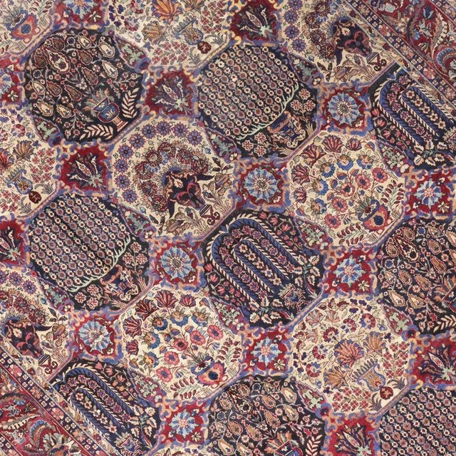 Asian Oversize Antique Persian Yazd with Garden Design in Jewel-Tone Colors For Sale - Image 3 of 10
