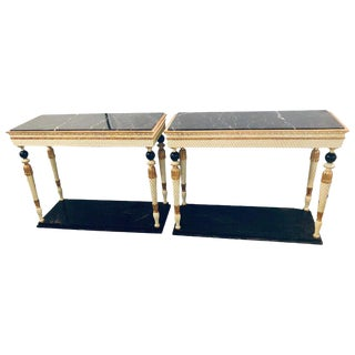 Pair of Swedish Neoclassical Maison Jansen Marble-Top Console Tables For Sale