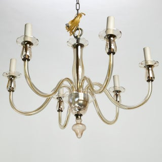 Six-Arm Pale Amber Murano Glass Chandelier Preview