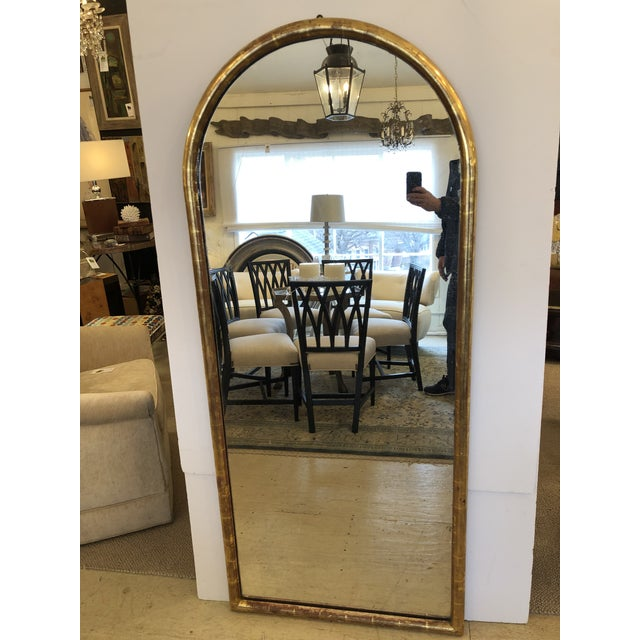 Gold 19th Century Antique Water Giltwood Arch Shaped Mirror For Sale - Image 8 of 11