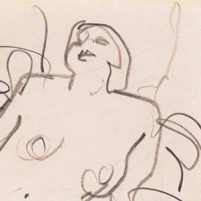 Di Gesu Estate Stamp verso for Victor di Gesu (American, 1914-1988) and drawn circa 1955. An elegant, freehand sketch of a...