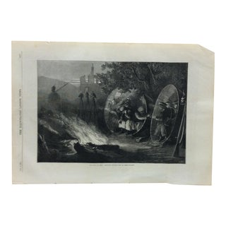 "Antique 1870 ""The Siege of Metz - Advanced Prussian Post at Mercy-Le-Haut"" Print For Sale"
