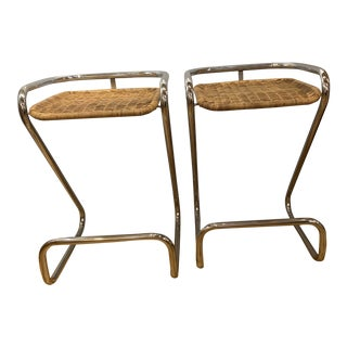 Pair of Rattan Mariani Italian Z Counter Stools For Sale