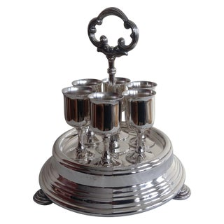 Taunton Silver Cordials & Caddy Holder For Sale