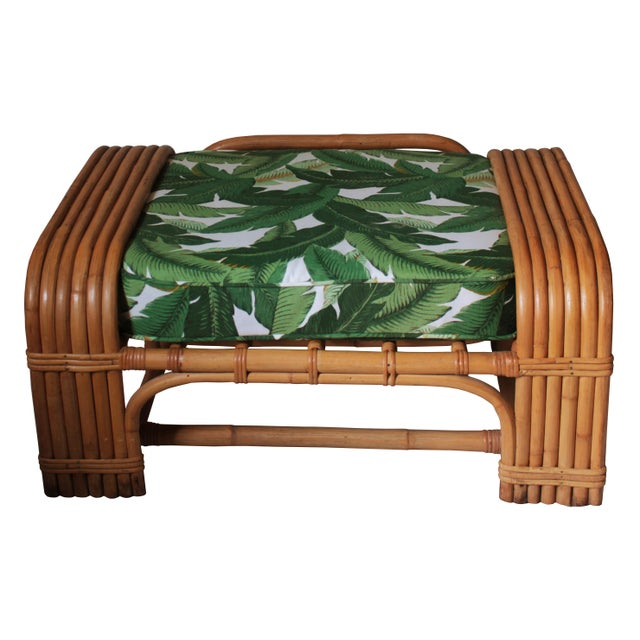 Hollywood Regency Rattan Ottoman For Sale - Image 4 of 4
