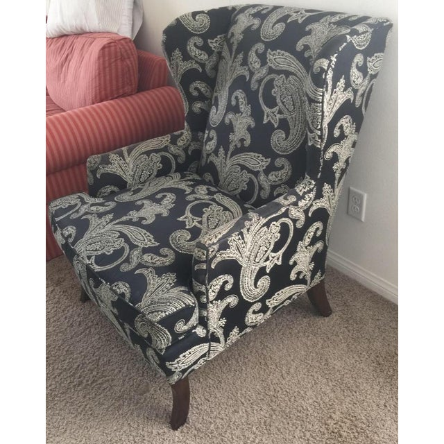 Contemporary Kravet Black and White Paisley Fabric Upholstered Wingback Chair For Sale - Image 3 of 6