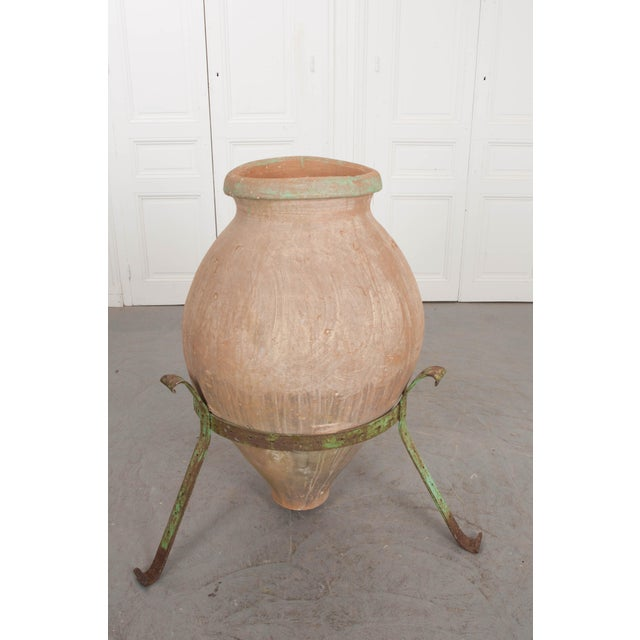 French 19th Century Terracotta Olive Jar on Painted Wrought-Iron Stand For Sale - Image 10 of 13