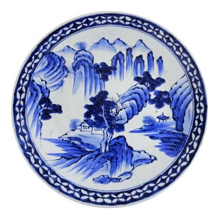 1900s Antique Blue White Japanese Serving Plate For Sale