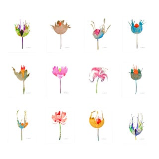 Poppy Inspired Botanical Giclee Prints, Set of 12. For Sale