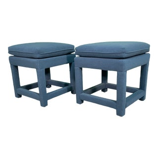 Hollywood Regency Upholstered Footstools, a Pair For Sale