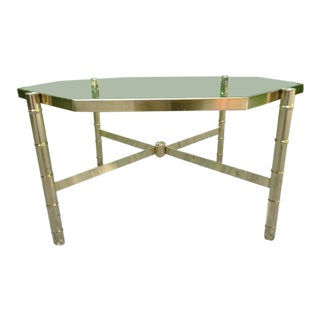 1960's Hollywood Regency Bamboo & Glass Coffee Cocktail Table