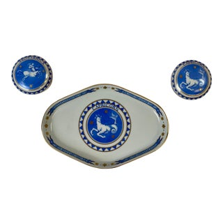 Late 20th Century Vintage Zodiac Mottahedeh Trinket Tray-Set of 3 For Sale