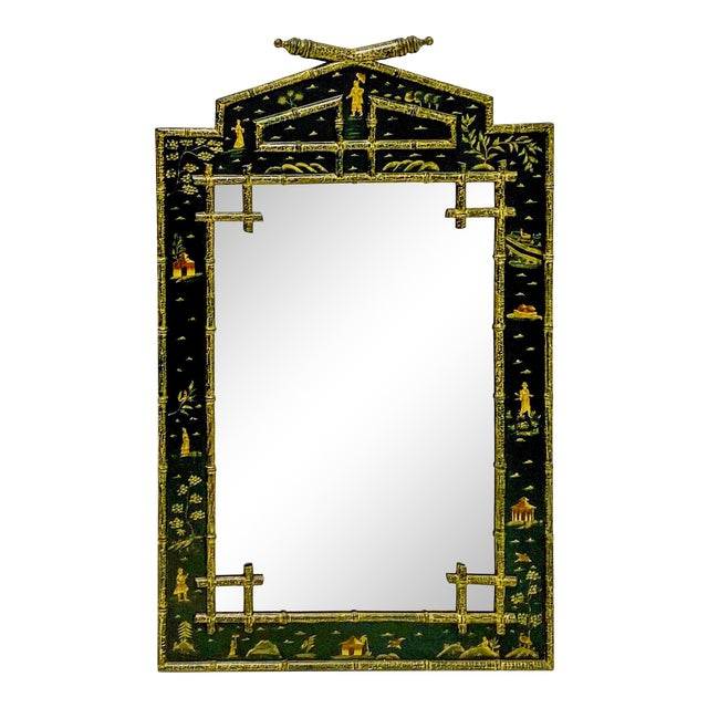 Faux Bamboo Chinoiserie Mirror For Sale