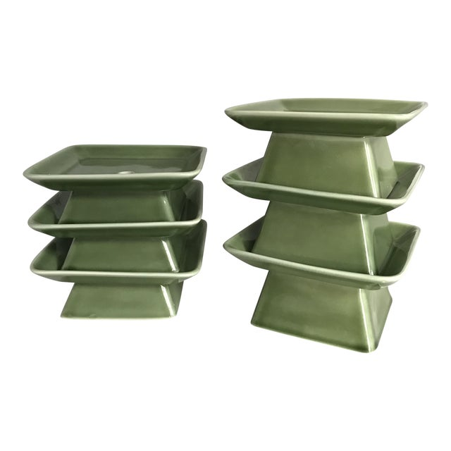 Pagoda Inspired Vases / Candle Holders - Set of 6 For Sale