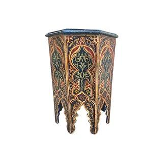20th Century Moroccan Handpainted Side Table For Sale