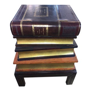 Maitland Smith Stacked Leather Book End Table For Sale