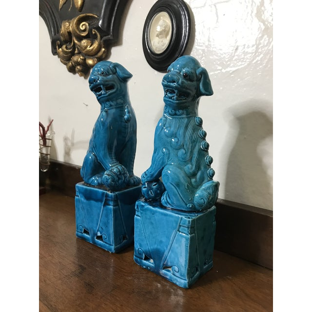"Vintage Chinese Porcelain Turquoise Foo Dogs 10"" - a Pair For Sale In Los Angeles - Image 6 of 8"