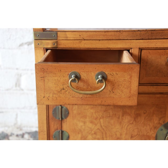Brass Michael Taylor for Baker Far East Collection Burl Wood Wall Units, Pair For Sale - Image 7 of 13