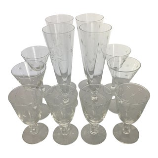 Vintage Stars and Stardust Glasses Barware - Set of 12 For Sale