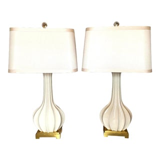 Fluted Off-White Crackled Ceramic Lamps on Gold Stand by Zuhaus Home - a Pair For Sale
