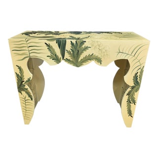 Boho Chic Hand Painted Dahlia Carved Console Table For Sale