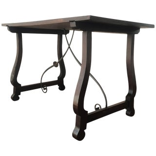 18th Century Spanish Baroque Trestle-Refectory Table on Lyre-Shaped Legs For Sale