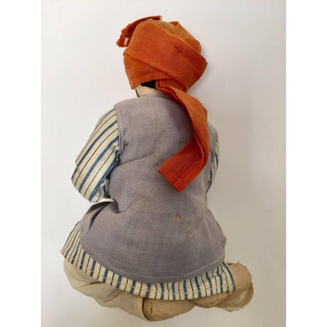 """Handmade in Rajasthan, India, stuffed 8"""" cloth sitting snake charmer doll toy. Vintage Middle Eastern Indian sitting snake..."""