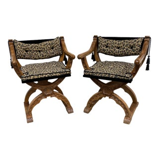 Italian Carved Curule Accent Chairs - a Pair For Sale