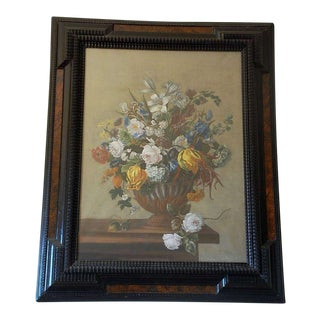 Detailed 18th Century Style Framed Pastel Bouquet Drawing For Sale