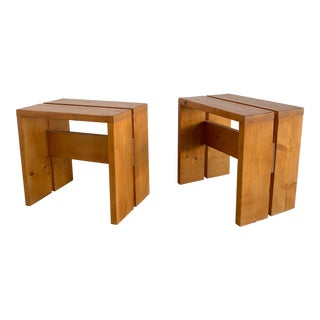 1960s Vintage Charlotte Perriand Les Arcs Stools- A Pair For Sale