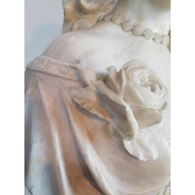 19th Century Italian A. Cipriani Carrara Marble Bust of a Young Woman Sculpture For Sale - Image 9 of 13