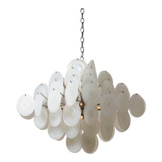 Vistosi Chandelier with Iridescent Murano Glass Discs For Sale