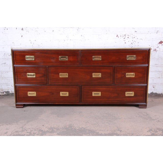 Baker Furniture Brass Campaign Style Long Dresser For Sale - Image 13 of 13