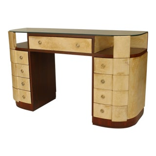 "French Art Deco Mahogany And Parchment Veneered ""D"" Shaped Dressing Table For Sale"