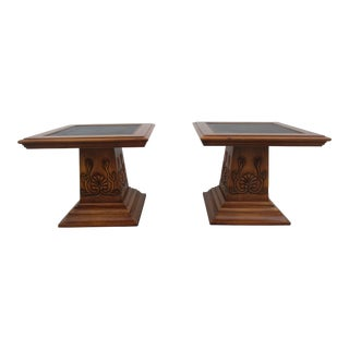 Hekman Empire Style Pedestal Side Tables - a Pair For Sale