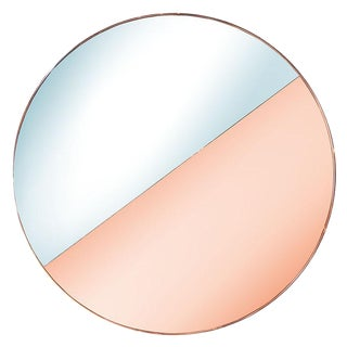Custom Half Silver Half Apricot Round Mirror For Sale