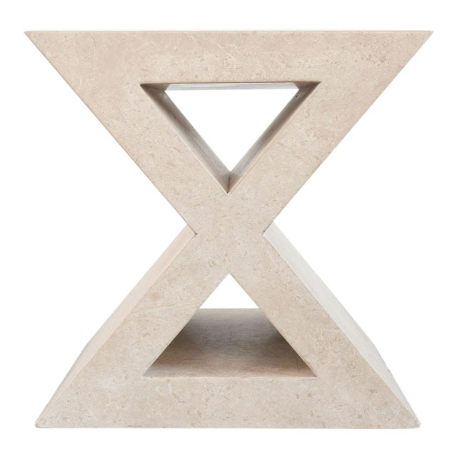 Modern 'X' Travertine Side Table For Sale