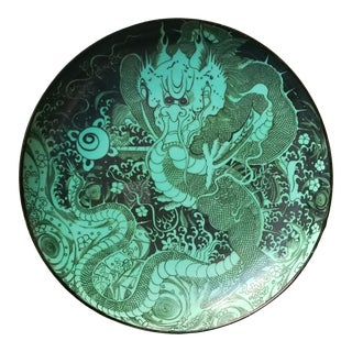 Green Chinese Dragon Charger Plate For Sale