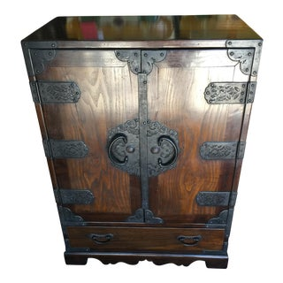 Antique Japanese Tansu Cabinet With Iron Work