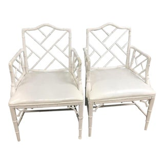White Faux Bamboo Chinese Chippendale Dining Chairs- a Pair For Sale