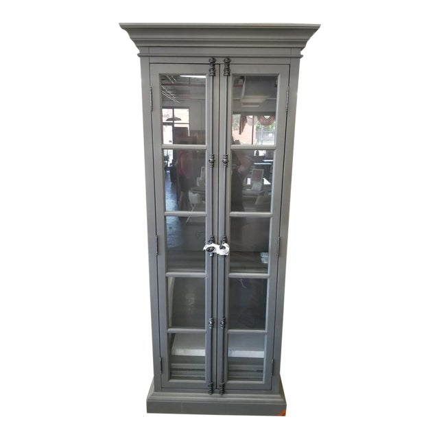 French Restoration Hardware Casement Narrow Double Glass Door Cabinet in Distressed Grey For Sale