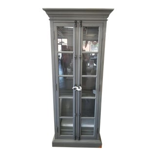 Restoration Hardware Casement Narrow Double Glass Door Cabinet For Sale