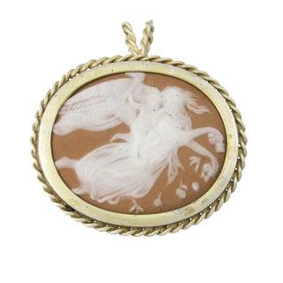 Vintage Gilt Silver Figural Jasper Cameo Pendant For Sale