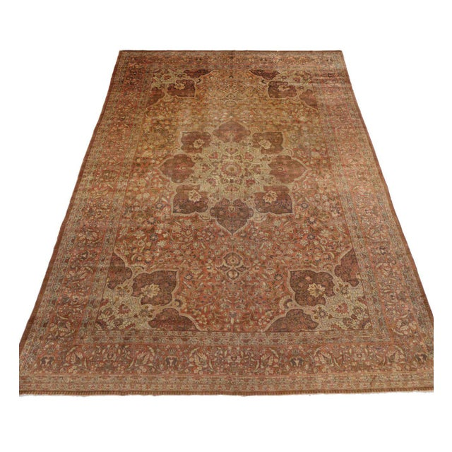 Haji Khalili Antique Persian Tabriz Rug with Art Nouveau Style in Gallery Size For Sale In Dallas - Image 6 of 8