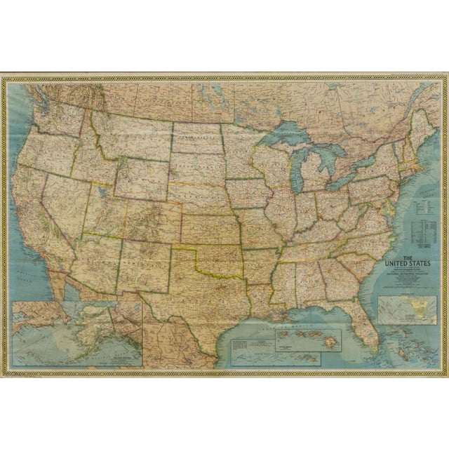 Framed vintage map of the United States of America. The map shows creases which adds more vintage feel to piece....