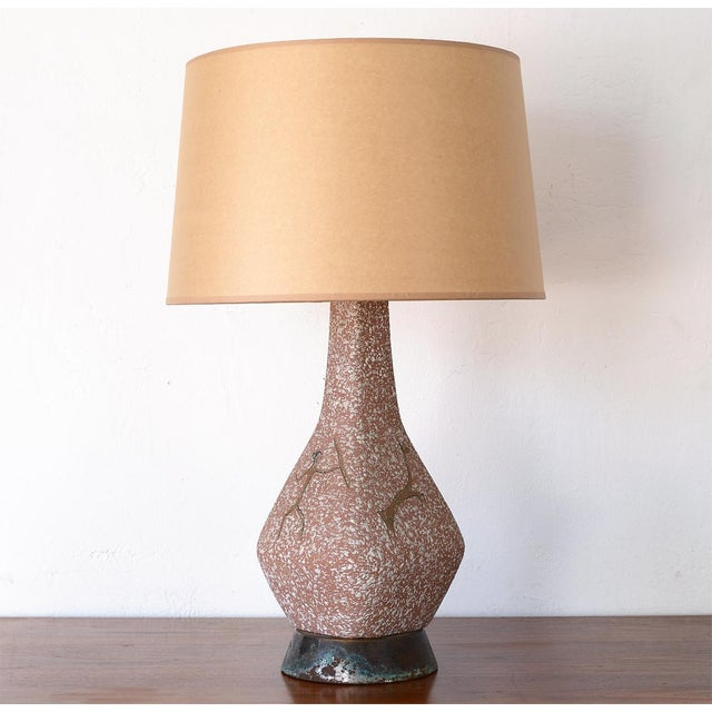 Stunning and rare mid century ceramic table lamp depicting the famous Lascaux cave paintings from France. Beautifully...